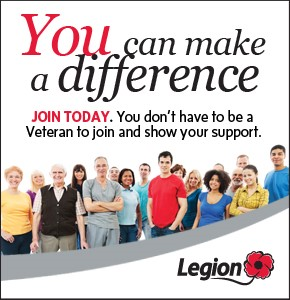 "A poster asking people to support the Royal Canadian Legion. In the large text, it says, ""You can make a difference."" It also says, ""Join Today. You don't have to be a veteran to join and show your support."""