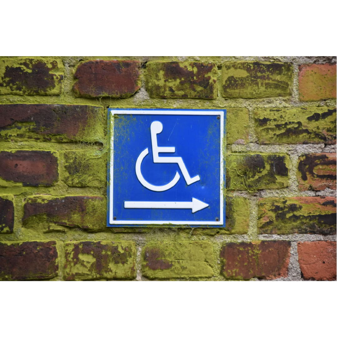 A photo of the International symbol of accessibility.